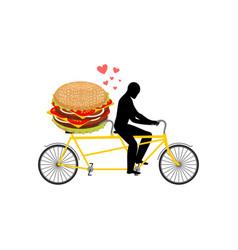 lover fast food man and hamburger on tandem guy vector image vector image