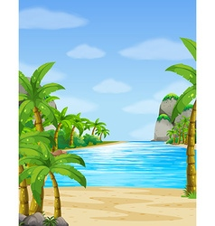 Nature scene with ocean at daytime vector image