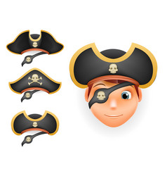 pirate hats set realistic head isolated template vector image