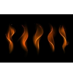 Set of Different Yellow Orange Fire Flame vector image