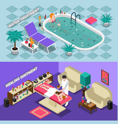 spa salon isometric banners vector image