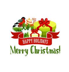 christmas tree and gift icon xmas holiday design vector image vector image