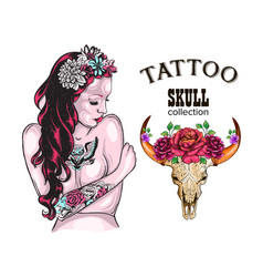 flower tattoo design shop tattooed lady skull of vector image