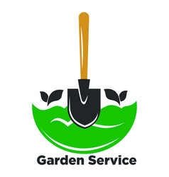garden service promotional logotype with spade and vector image vector image