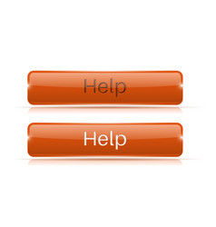 Help button orange 3d icon normal and active vector