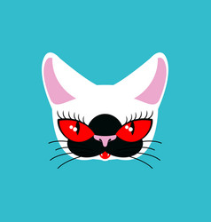 Siamese cat face isolated pet on green background vector