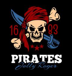 Vintage label pirates skull vector