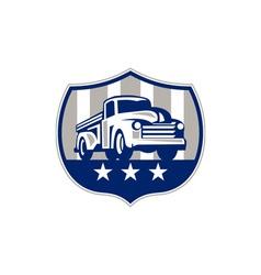 Vintage pick up truck usa flag crest retro vector
