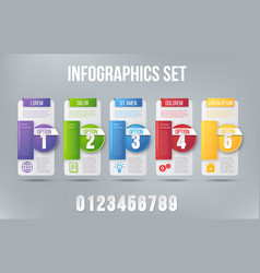 5 steps process infographics card design vector image