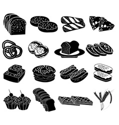 Bakery food icons set vector image vector image