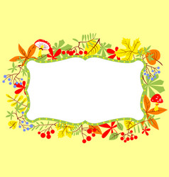 fall frame with leaves berries and mushrooms vector image
