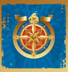 golden compass rose vector image vector image