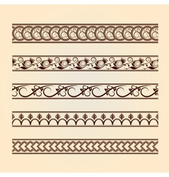 Set of classic floral lines vintage collection vector image vector image