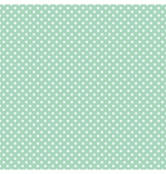 Tile pattern white polka dots on mint green vector