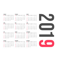 2019 year calendar template minimal pocket vector