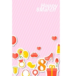 8 March banner Holiday Accessories stickers with vector image