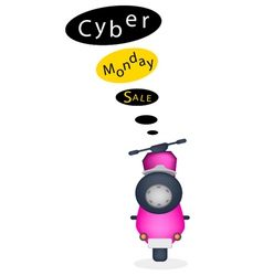 A Motorbike with Cyber Monday Sale Banner vector image