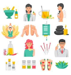 Alternative medicine icons set vector