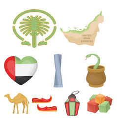 arab emirates set icons in cartoon style big vector image