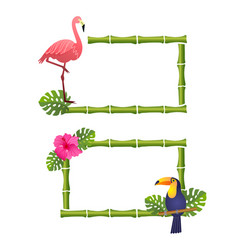 Bamboo frames with flamingotoucan and flowers vector