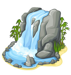 Beautiful stream waterfall from cliff vector