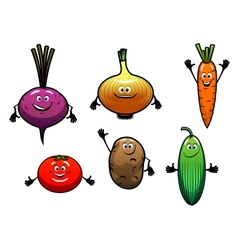 Beet onion carrot tomato potato and cucumber vector image
