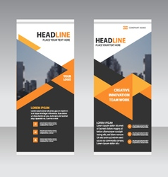 Black orange business trifold Leaflet template vector