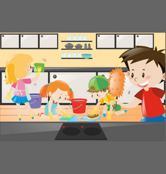 boys and girls cleaning the kitchen vector image