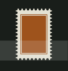 brown blank postage stamp toothed border sticker vector image