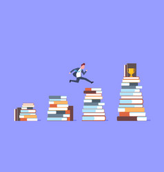 business man jumping over stacks of books to vector image