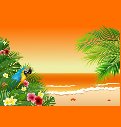 card with tropical beach plants and parrot vector image