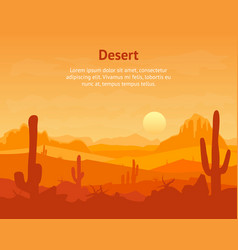 cartoon desert with silhouettes cactus and vector image