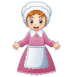Cartoon pilgrim woman vector