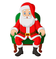 cartoon santa claus sitting in chair vector image