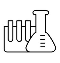 Chemistry tubes thin line icon flask with ampoule vector
