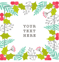 christmas plants frame greeting card vector image
