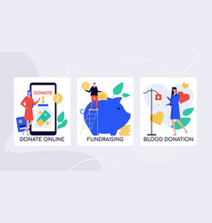 Crowdfunding initiatives charity colorful vector
