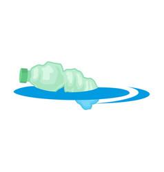 Crumpled plastic bottle floats in water vector