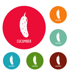 Cucumber icons circle set vector
