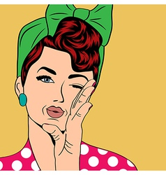 cute retro woman in comics style vector image