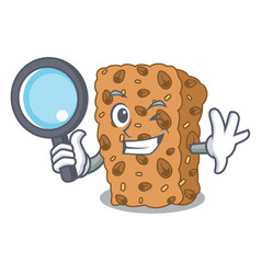 Detective granola bar character cartoon vector