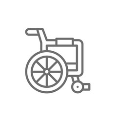 Disabled carriage wheelchair line icon vector