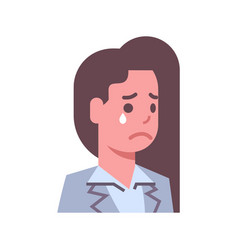 Female crying upset emotion icon isolated avatar vector