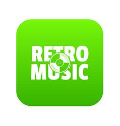 festival retro music icon green vector image