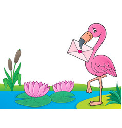 flamingo with love letter theme 4 vector image