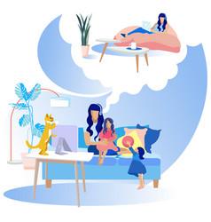 Flat motherhood cartoon dreams tired mother vector