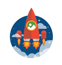 flat red giant rocket ship launched to the space vector image