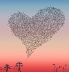 Flock of birds in heart shape vector