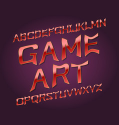 game art typeface golden red font isolated vector image