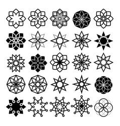 Geometric flower and stars collection lineart vector